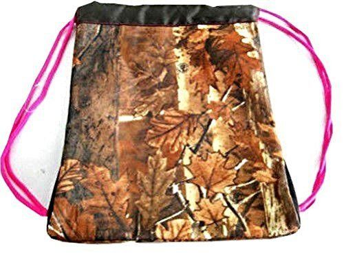 13 inch Explorer Tactical Camo Chik Pink trim Drawstring Backpack