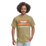 Funny I Eat Bacon And Know Things Bacon Lover Men's T-Shirt - khaki
