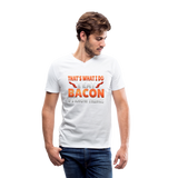 Funny I Eat Bacon And Know Things Bacon Lover Men's V-Neck T-Shirt by Canvas - white
