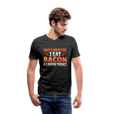 Funny I Eat Bacon And Know Things Bacon Lover Men's V-Neck T-Shirt by Canvas - black
