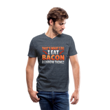 Funny I Eat Bacon And Know Things Bacon Lover Men's V-Neck T-Shirt by Canvas - heather navy