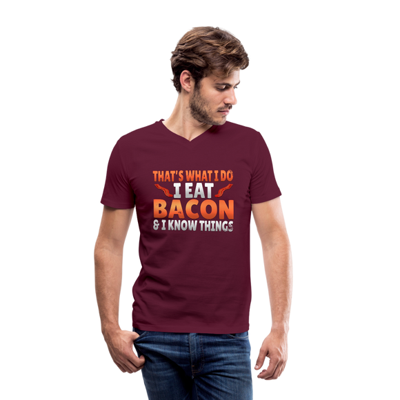 Funny I Eat Bacon And Know Things Bacon Lover Men's V-Neck T-Shirt by Canvas - maroon
