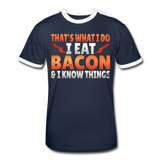 Funny I Eat Bacon And Know Things Bacon Lover Men's Retro T-Shirt - navy/white
