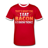 Funny I Eat Bacon And Know Things Bacon Lover Men's Retro T-Shirt - red/white