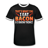 Funny I Eat Bacon And Know Things Bacon Lover Men's Retro T-Shirt - black/white