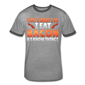 Funny I Eat Bacon And Know Things Bacon Lover Men's Retro T-Shirt - heather gray/charcoal