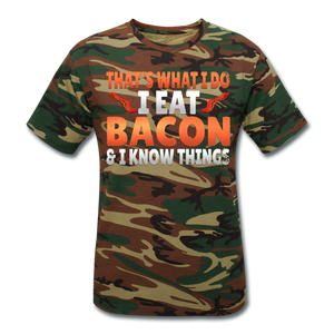 Funny I Eat Bacon And Know Things Bacon Lover Unisex Camouflage T-Shirt - green camouflage