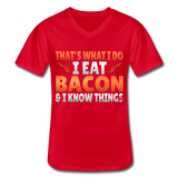 Funny I Eat Bacon And Know Things Bacon Lover Men's V-Neck T-Shirt - red