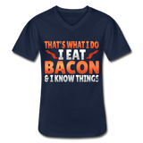 Funny I Eat Bacon And Know Things Bacon Lover Men's V-Neck T-Shirt - navy