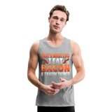 Funny I Eat Bacon And Know Things Bacon Lover Men's Premium Tank - heather gray