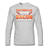 Funny I Eat Bacon And Know Things Bacon Lover Men's Long Sleeve T-Shirt by Next Level - heather gray