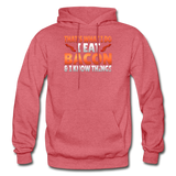 Funny I Eat Bacon And Know Things Bacon Lover Gildan Heavy Blend Adult Hoodie - heather red
