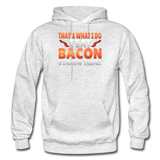 Funny I Eat Bacon And Know Things Bacon Lover Gildan Heavy Blend Adult Hoodie - light heather gray