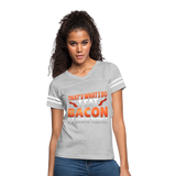 Funny I Eat Bacon And Know Things Bacon Lover Women's Vintage Sport T-Shirt - heather gray/white