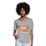 Funny I Eat Bacon And Know Things Bacon Lover Women's Flowy T-Shirt - heather gray