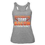 Funny I Eat Bacon And Know Things Bacon Lover Women's Tri-Blend Racerback Tank - heather gray