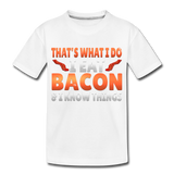 Funny I Eat Bacon And Know Things Bacon Lover Kids' Premium T-Shirt - white