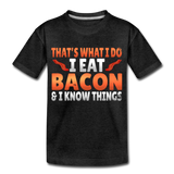 Funny I Eat Bacon And Know Things Bacon Lover Kids' Premium T-Shirt - charcoal gray