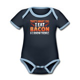 Funny I Eat Bacon And Know Things Bacon Lover Organic Contrast Short Sleeve Baby Bodysuit - navy/sky