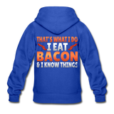 Funny I Eat Bacon And Know Things Bacon Lover Gildan Heavy Blend Youth Zip Hoodie - royal blue