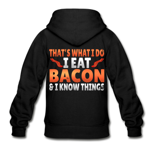 Funny I Eat Bacon And Know Things Bacon Lover Gildan Heavy Blend Youth Zip Hoodie - black
