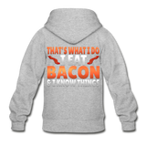 Funny I Eat Bacon And Know Things Bacon Lover Gildan Heavy Blend Youth Zip Hoodie - heather gray