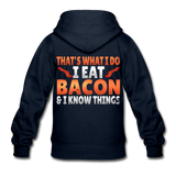 Funny I Eat Bacon And Know Things Bacon Lover Gildan Heavy Blend Youth Zip Hoodie - navy