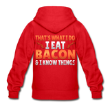 Funny I Eat Bacon And Know Things Bacon Lover Gildan Heavy Blend Youth Zip Hoodie - red