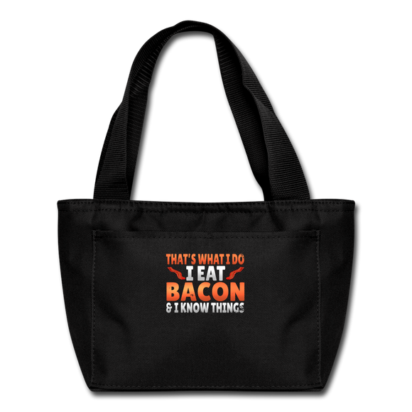 Funny I Eat Bacon And Know Things Bacon Lover Lunch bag - black