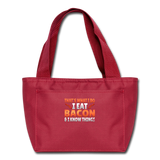 Funny I Eat Bacon And Know Things Bacon Lover Lunch bag - red