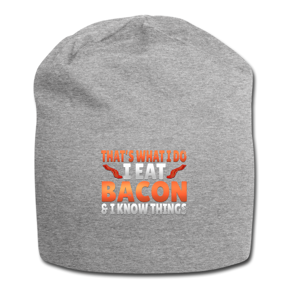 Funny I Eat Bacon And Know Things Bacon Lover Jersey Beanie - heather gray