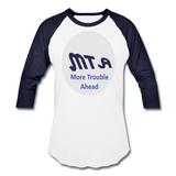 New York City Subway train funny Logo parody Baseball T-Shirt - white/navy