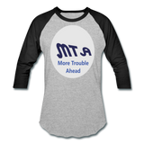 New York City Subway train funny Logo parody Baseball T-Shirt - heather gray/black