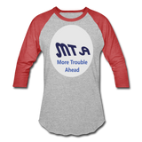 New York City Subway train funny Logo parody Baseball T-Shirt - heather gray/red