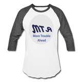 New York City Subway train funny Logo parody Baseball T-Shirt - white/charcoal