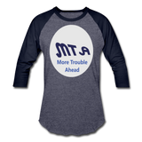 New York City Subway train funny Logo parody Baseball T-Shirt - heather blue/navy