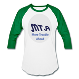 New York City Subway train funny Logo parody Baseball T-Shirt - white/kelly green