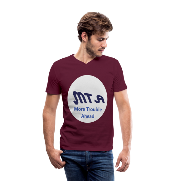New York City Subway train funny Logo parody Men's V-Neck T-Shirt by Canvas - maroon