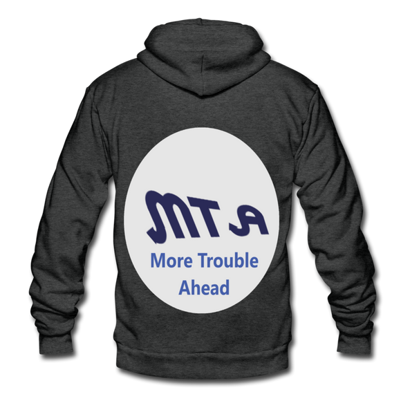 New York City Subway train funny Logo parody Unisex Fleece Zip Hoodie - charcoal gray