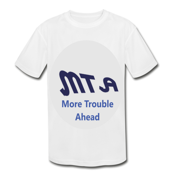 New York City Subway train funny Logo parody Kids' Moisture Wicking Performance T-Shirt - white