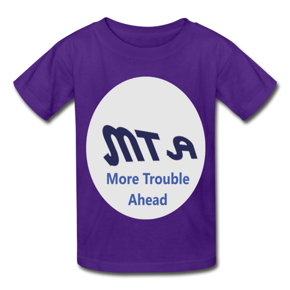 New York City Subway train funny Logo parody Gildan Ultra Cotton Youth T-Shirt - purple