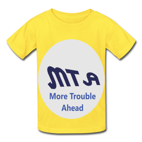 New York City Subway train funny Logo parody Hanes Youth Tagless T-Shirt - yellow