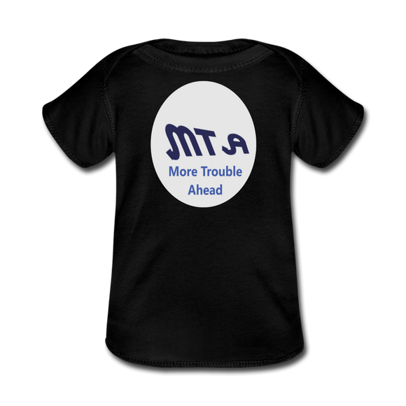 New York City Subway train funny Logo parody Baby Lap Shoulder T-Shirt - black