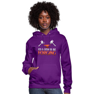 I'd Rather Be Forging Blacksmith Forge Hammer Women's Hoodie - purple