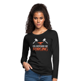 I'd Rather Be Forging Blacksmith Forge Hammer Women's Premium Long Sleeve T-Shirt - black