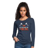 I'd Rather Be Forging Blacksmith Forge Hammer Women's Premium Long Sleeve T-Shirt - navy