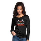I'd Rather Be Forging Blacksmith Forge Hammer Women's Premium Long Sleeve T-Shirt - charcoal gray