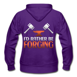 I'd Rather Be Forging Blacksmith Forge Hammer Gildan Heavy Blend Women's Zip Hoodie - purple