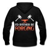 I'd Rather Be Forging Blacksmith Forge Hammer Gildan Heavy Blend Women's Zip Hoodie - black