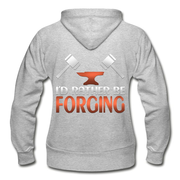 I'd Rather Be Forging Blacksmith Forge Hammer Gildan Heavy Blend Women's Zip Hoodie - heather gray